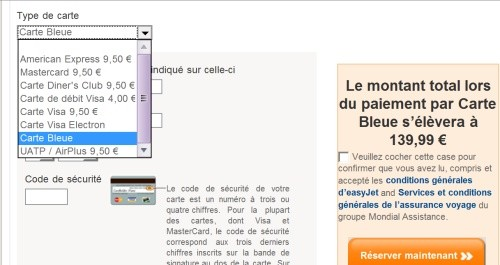 choix du type de carte sur le site d'Easyjet (Visa, Mastercard, Entropay)