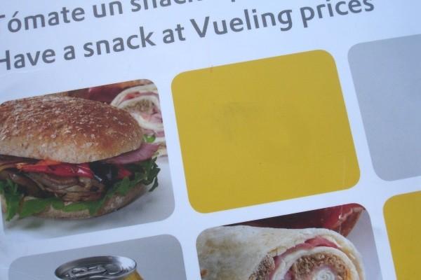 Detalle de un menú distribuido a bordo de los aviones de Vueling. © G.A