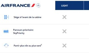 tatif light flex standard Air France