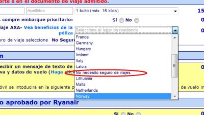 seguro de viaje Ryanair