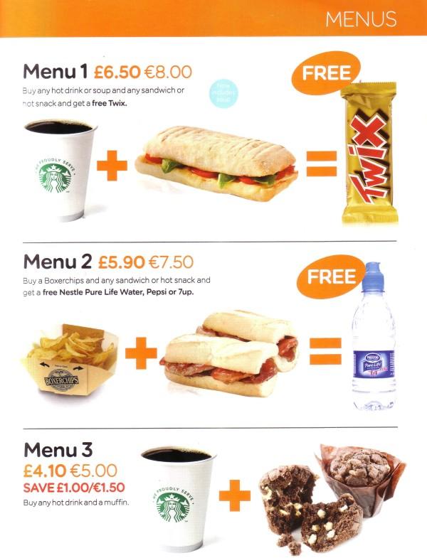 menu easyJet